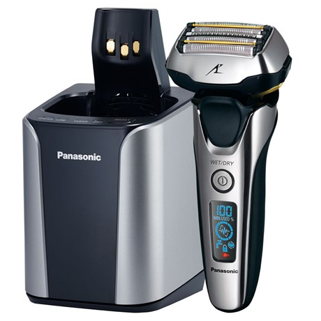 Aparat de barbierit Panasonic ES-LV9N-S803 Wet & Dry, 5 lame, Cap Multi-Flex 3D, Trimmer, Statie de incarcare, Display, Li-Ion, Aut 45 min, Argintiu/Negru
