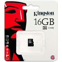 Card de Memorie Kingston microSDHC 16GB Class4 Single Pack, cu adaptor