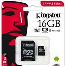 Card de Memorie MicroSDHC Kingston Canvas Select 80R, 16GB, Clasa 10 UHS-I, 80/10 MB/s, adaptor SD
