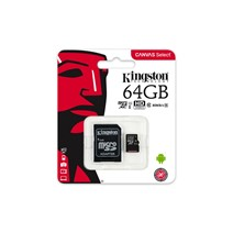 Card de Memorie MicroSDXC Kingston Canvas Select 80R, 64GB, Clasa 10 UHS-I, 80/10 MB/s, adaptor SD