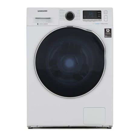 Masina de spalat rufe cu uscator Samsung Crystal Blue Eco Bubble WD90J6A10AW, 9kg/6kg, 1400 RPM, Clasa A, Display, Inverter, Alb