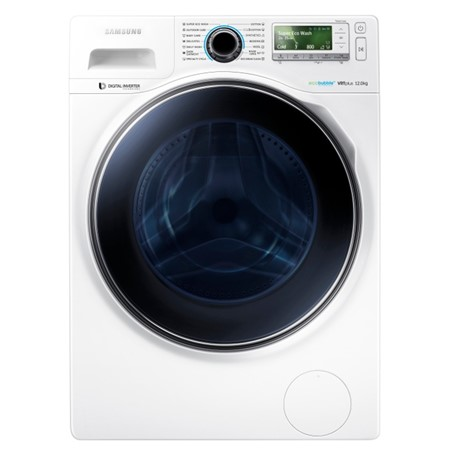 Masina de spalat rufe Samsung Crystal Blue WW12H8400EW, Eco Buble, 12 kg, 1400 RPM, A+++,  Inverter, Display Lcd Color, VRT Plus, Alba