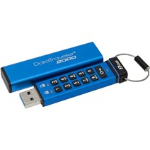 Memorie USB Flash Drive Kingston, 8GB, DT2000, USB 3.0, Keypad, Albastru