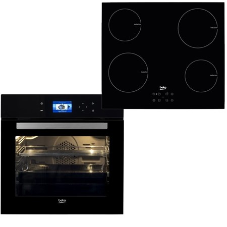Cuptor Beko BIR24800BMS + Plita Beko HII64401AT, 13 Functii, 72 l, Catalitic, Grill, TFT Display Touch, Inductie, touch control, booster, timer