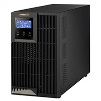UPS - On Line Double Conversion INFOSEC E4 LCD Pro - 1000, 1000 VA, RS 232 communication port - Software - Black Design, 3 IEC, 2 yr warranty